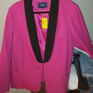 Eloquii hot pink and black blazer